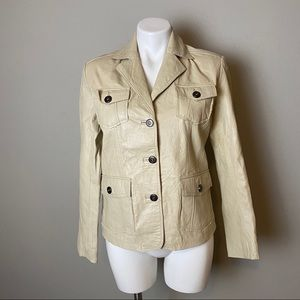 Chico's Cream Leather Blazer sz 0 small
